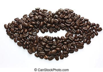 gjord, kaffe böna, läpp