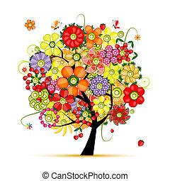 gjord, konst, träd., frukter, blommig, blomningen