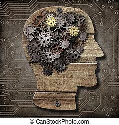 gjord, kuggar, metall, ved, hjärna, rostig, utrustar, modell