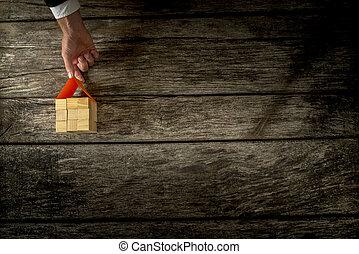 gjord, kvarter, trä, många, topp, placerande, tak, hand, papper, hus, manlig, synhåll