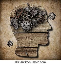gjord, metafor, arbete, metall, hjärna, rostig, utrustar, ...
