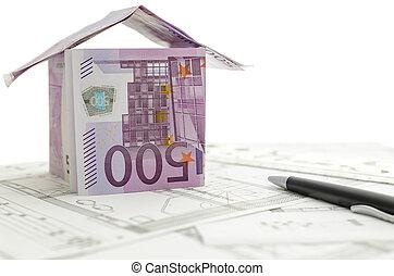 gjord, pengar, den, konstruktion, plan, hus