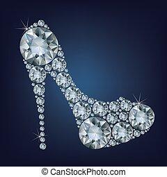 gjord, skor, uppe, form, lott, diamanter