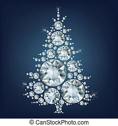 gjord, träd, lott, diamon, jul