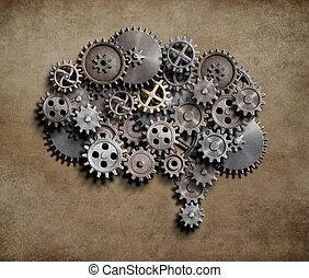 gjord, utrustar, metall, hjärna, 3, kuggar, illustration