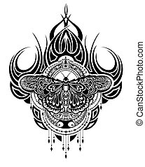gk38.eps - Butterfly tattoo in geometrical style. Beautiful...