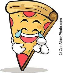glädje, ansikte, tecken, tecknad film, pizza