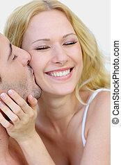 glädje, par, kärlek, kyssande