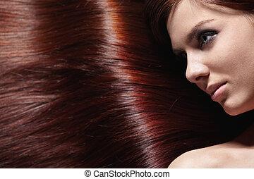 glänsande, hår