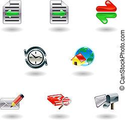 glänsande, internet bläddrare, ikon, sätta