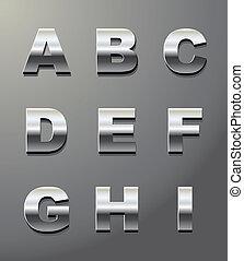 glänsande, metall, breven