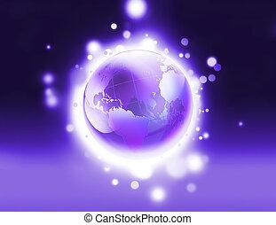 glänsande, purpur, värld