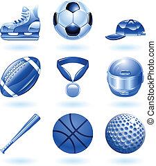 glänsande, sports, ikon, sätta, serie