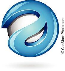 glänzend, blaues, logo, 3d, form