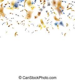 glänzend, bunte, konfetti, fallender , heraus, stil, bokeh, ...