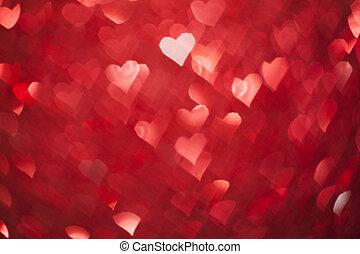 glänzend, herzen, bokeh, licht, tag valentines, hintergrund