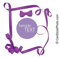 glänzend, lila, geschenkband, weiß, hintergrund, mit, kopie,...