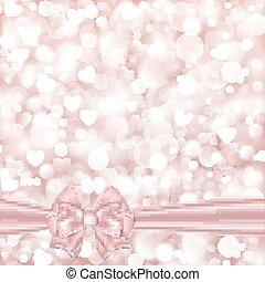 glänzend, rosafarbener hintergrund, mit, schleife