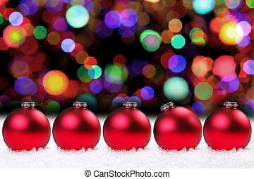 glänzend, rotes , weihnachten, birnen, und, hübsch, lichter