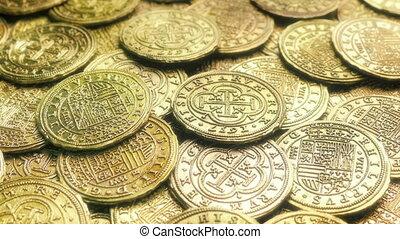 glänzend, schatz, geldmünzen, gold