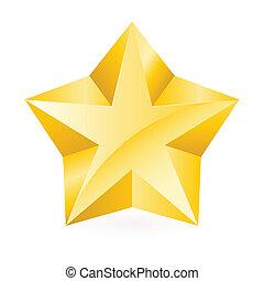 glänzend, stern, gold