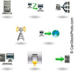 glänzend, vernetzung, computerikon, satz