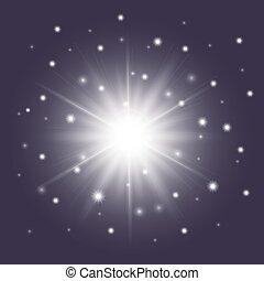 glänzend, weißes, stern, mit, sparkles., sunburst, symbol