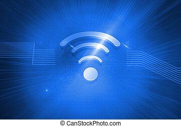 glänzend, wifi, ikone, auf, blauer hintergrund