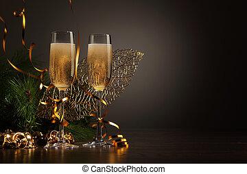 gläser champagner, an, silvestertanz