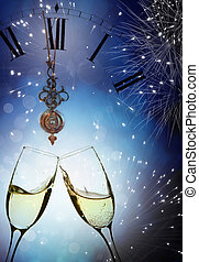 gläser champagner, gegen, feiertag, lichter