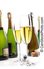 gläser champagner, mit, flaschen, weiß