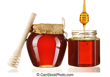 gläser, honig, und, schöpflöffel