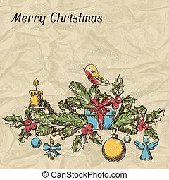 glædelig jul, hånd, stram, invitation, card, template.