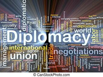 glödande, begrepp, bakgrund, diplomati
