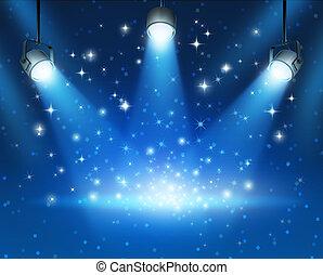 glödande, blå, spotlights, bakgrund
