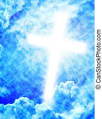 glödande, sky, kors