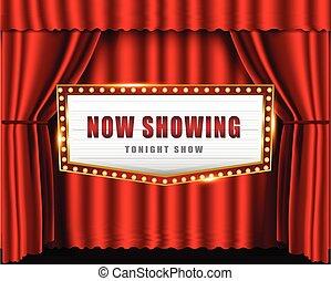 glödande, underteckna, bio, ljust, teater, retro, neon