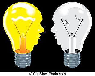 glödlampor, huvuden, (ideas, lätt, brain), svart, mänsklig, backgro
