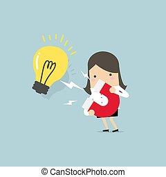glödlampor, lätt, magnet., stort, affärskvinna, tilldra