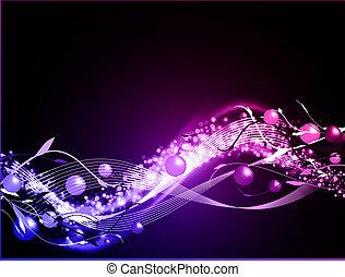 glødende, baggrund, bølgede, neon