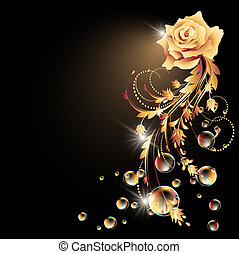 glødende, baggrund, rose