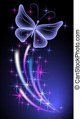 glødende, baggrund, sommerfugle