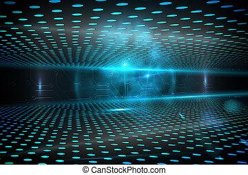 glødende, baggrund, teknologiske