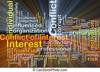 glødende, begreb, baggrund, interesse, konflikten