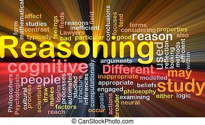 glødende, begreb, kognitive, baggrund, ræsonere