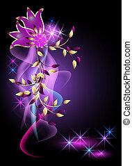 glødende, blomster, baggrund