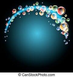 glødende, bobler, baggrund