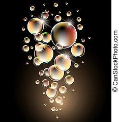 glødende, bobler