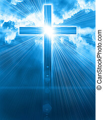 glødende, himmel, kors