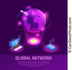 glødende, isometric, globale, komposition, netværk